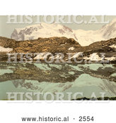 Historical Photochrom of Monte Rosa Reflecting in Riffel Lake, Switzerland by Al