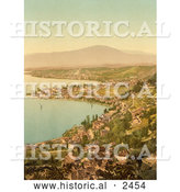 Historical Photochrom of Montreux and Clarens, Lake Geneva, Switzerland by Al