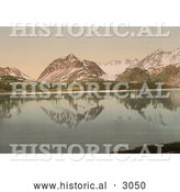 Historical Photochrom of Mountains Reflecting in Lyngenfjord by Al