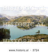 Historical Photochrom of Mountains Surrounding Tarn Hows Coniston Lake District Cumbria England UK by Al