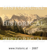 Historical Photochrom of Mountains, Wengrenalp, Bernese Oberland, Switzerland by Al