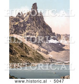 Historical Photochrom of Mt. Surlon and Sorapiss, Tyrol, Austria by Al