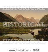 Historical Photochrom of Mundal, Fjaerland, Sognefjord, Norway by Al