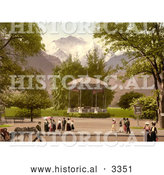 Historical Photochrom of Music Pavillion in Interlaken, Switzerland by Al