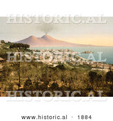 Historical Photochrom of Naples and Mount Vesuvius, Italy by Al
