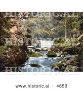 Historical Photochrom of Nunnery Walks Waterfall Where the Croglin Water Joins the River Eden, England by Al