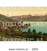 Historical Photochrom of Oberhofen Village in Switzerland by Al