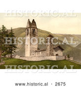Historical Photochrom of Old Church, Celerina, Schlarigna, Switzerland by Al