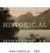 Historical Photochrom of Opstryn Lake, Norway by Al