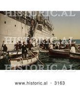 Historical Photochrom of Passengers Boarding off of a Ship, Algeria by Al