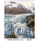 Historical Photochrom of Pasterze Glacier and Grossglockner Mountain in Carinthia, Austria by Al