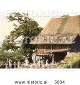 Historical Photochrom of Peasants by Their House in Meran, Tyrol, Austria by Al