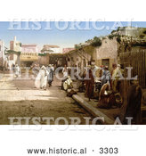 Historical Photochrom of Pedestrians on Marr Street, Tunis, Tunisia in 1899 by Al