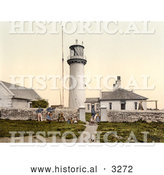 Historical Photochrom of People and a Dog at the Lighthouse on Heligoland, Germany by Al