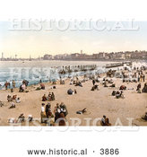 Historical Photochrom of People and Bathing Machines on the Beach in Margate Thanet Kent England UK by Al