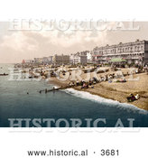 Historical Photochrom of People and Boats on the Shore in Worthing West Sussex England UK by Al