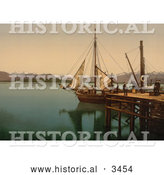 Historical Photochrom of People Around a Docked Ship, Molde, Norway by Al