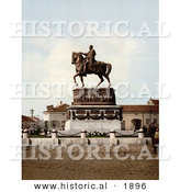 Historical Photochrom of People at Prince Michael's Monument in Belgrade, Serbia by Al