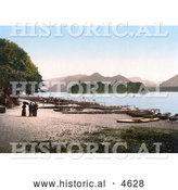 Historical Photochrom of People at the Boat Landing on the Shore of Derwent Water, Lake District, England by Al