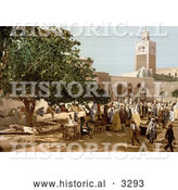 Historical Photochrom of People at the Kasbah Market, Tunis, Tunisia by Al