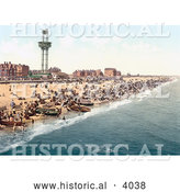 Historical Photochrom of People, Benches and Boats on the Beach by the Revolving Observation Tower in Yarmouth Norfolk England UK by Al