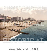 Historical Photochrom of People, Boats and Bathing Machine Carts on the Beach in Worthing West Sussex England UK by Al