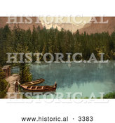 Historical Photochrom of People by Boats in Kander Valley, Switzerland by Al