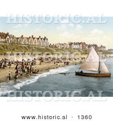 Historical Photochrom of People Crowding on the Beach As a Yacht Starts off from Clacton-on-Sea, Essex, England by Al