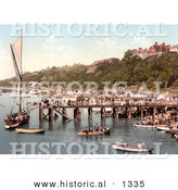 Historical Photochrom of People Crowding the Busy East Parade Promenade to View a Yacht in Southend-On-Sea Essex England UK by Al