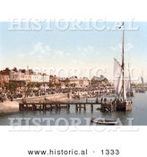 Historical Photochrom of People Crowding the Busy East Parade Promenade to View Yachts in Southend-On-Sea Essex England UK by Al