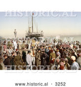 Historical Photochrom of People Disembarking a Ship, Algiers, Algeria by Al