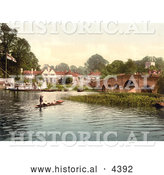 Historical Photochrom of People Enjoying Gondola Rides near the Bridge at White Heart Hotel in Sonning, England by Al