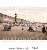 Historical Photochrom of People Enjoying the Beach by the Jubilee Clock Tower in Weymouth Dorset England UK by Al
