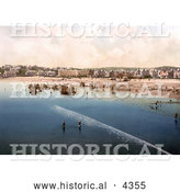 Historical Photochrom of People Enjoying the Nice Weather on the Beach in Paignton Devon England UK by Al