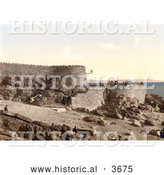 Historical Photochrom of People Enjoying the View from Anchor Head in Weston-super-Mare on the Bristol Channel in North Somerset England UK by Al