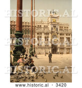 Historical Photochrom of People Feeding Pigeons, Venice, Italy, St Marks Place by Al