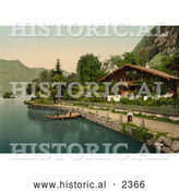 Historical Photochrom of People in a Boat near a House, Brienz Lake by Al