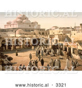 Historical Photochrom of People in Bab Suika-Suker Square, Tunis, Tunisia by Al