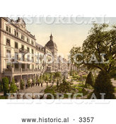 Historical Photochrom of People in Grand Hotel Victoria's Garden, Interlaken by Al