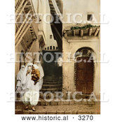 Historical Photochrom of People in Traditional Dress, Algiers, Algeria by Al