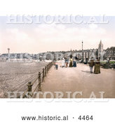 Historical Photochrom of People Leisurely Strolling the Promenade in Morecambe, Lancashire, England, United Kingdom by Al