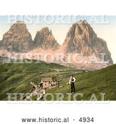 Historical Photochrom of People near a Hotel and Mountains, Sella Joch and Langkofl, Tyrol, Austria by Al
