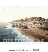 Historical Photochrom of People near Boats and Bathing Machines on the Beach in Southwell England by Al