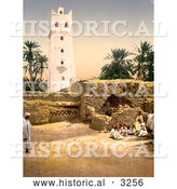 Historical Photochrom of People near the Mosque, Biskra, Algeria by Al