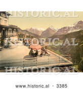 Historical Photochrom of People on a Balcony near Mountains, Switzerland by Al