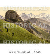 Historical Photochrom of People on a Hillside near the Swiss Alps Mountains by Al