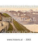 Historical Photochrom of People on a Terrace, View of Brienzer Rothorn Mountain by Al