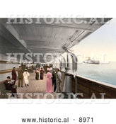 Historical Photochrom of People on Benches and Strolling on the Promenade Deck of the Maria Theresia Steamship, North German Lloyd, Royal Mail Steamers by Al