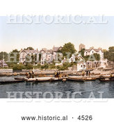 Historical Photochrom of People on Boats near the Old England Hotel in Windermere, Cumbria, Lake District, England by Al
