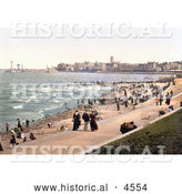 Historical Photochrom of People on the Beach and Promenade in Margate St Margaret's Bay North Foreland Thanet East Kent England UK by Al